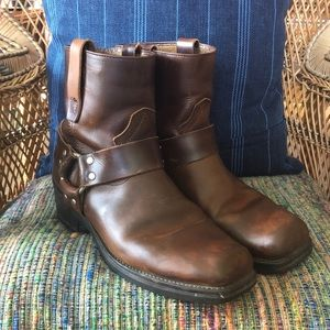 Durango Short Brown Leather Harness Boots